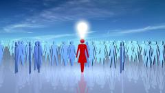 A woman with an idea attracts followers. Stock Footage
