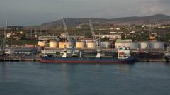 Rome Italy Civitavecchia cargo ship in port 4K 042 Stock Footage