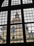 El Escorial Monastery tower through a window - stock photo