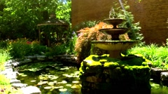 Fountain, Pond & Lily Pads No.1 - stock footage
