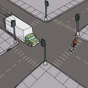 Truck driving into pedestrian Stock Illustration