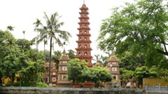 Zoom Out of the Tran Quoc Pagoda Temple in Hanoi Vietnam Stock Footage