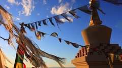 Stupa and Prayer Flags No.3 Stock Footage