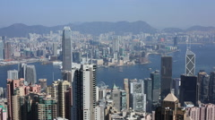 Time Lapse of boats running at Victoria Harbour from the Peak in Hong Kong - stock footage