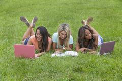 3 Girls Enjoying The Park - stock photo