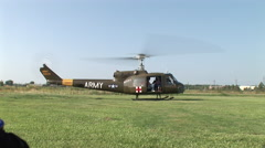 Medivac takes off with escort from field Stock Footage