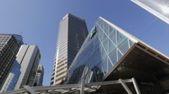 Pan shot of office buildings in Hong Kong Central Stock Footage