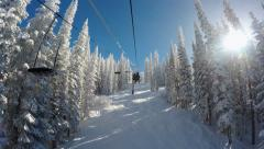 Winter Ski Lift In Snowy Mountains Stock Footage