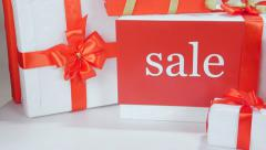 Christmas gift box in female hands - stock footage