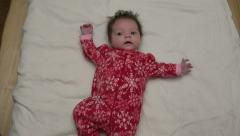 Cute Baby In Christmas Fleece Stock Footage