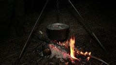 Fish soup on a fire Stock Footage