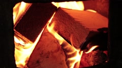 Burning wood in the firebox Stock Footage