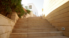 Stone steps on the territory of the hotel Stock Footage