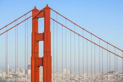 Famous san francisco golden gate bridge in afternoon light Stock Photos