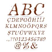 Chocolate Alphabet Upper Case Italic Stock Illustration