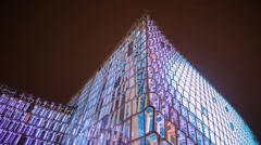Lcd lights on HARPA concert hall and convention center in Reykjavik, Iceland Stock Footage