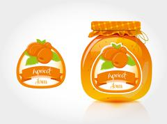 Stock Illustration of Apricot jam label with jar