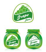 Grape jam label with jar Stock Illustration