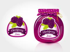Blackberry jam label with jar  Stock Illustration