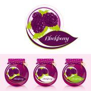 Blackberry jam label with jar  - stock illustration