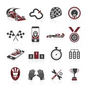 Formula 1 icon set, sport icons and sticker Stock Illustration