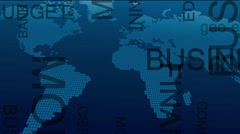 Movement of business terminology on world map background Stock Footage