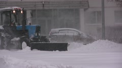 Snow Removal Tractor Stock Footage