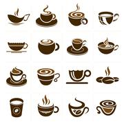 Coffee and tea cup set, vector icon collection - stock illustration