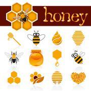 Honey icon set Stock Illustration