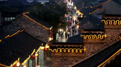 Night scene of Dongguan ancient street in a rainy evening Stock Footage