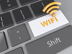 Wifi button on computer keyboard. 3d illustration Stock Illustration
