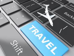 Travel and airplane on computer keyboard. travel concept Stock Illustration