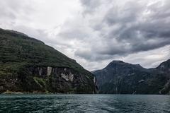 View to the geirangerfjord Stock Photos