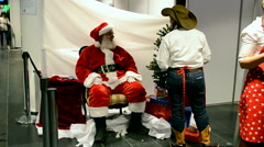 Santa Claus on Charity bazaar 2014, Kiev, Ukraine. Stock Footage