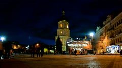 Christmas tree and holiday bazaar in Kiew, Ukraine, Stock Footage