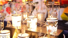 Candles-carousel in the souvenir shop at the Christmas market - stock footage