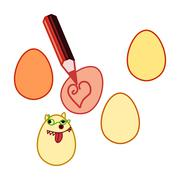 Crayon drawing easter eggs Stock Illustration