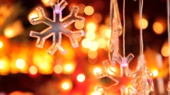 Snowflakes and drops on the background of garlands. Stock Footage
