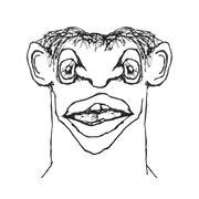 strange caricature man - stock illustration