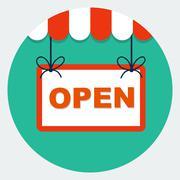 Vector open sign - stock illustration