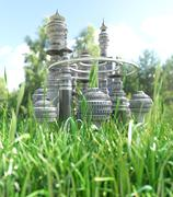 Futuristic City with blade of grass ecology concept background Stock Photos
