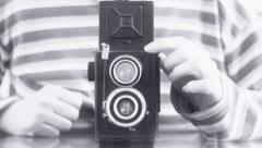 Vintage Camera Photographer old movie effects Stock Footage