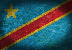 Stock Photo of old rusty metal sign with democratic republic of congo flag
