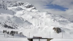 Switzerland Mountain Train in Winter Stock Footage