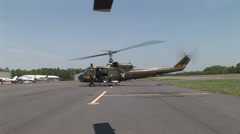 Gunship starts from POV of another chopper Stock Footage