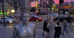 """Four Ladies of Hollywood"" gazebo on Hollywood Walk of Fame at sunset Stock Footage"