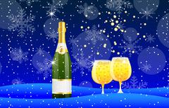 Bottle and two glasses of champagne on to snow Stock Illustration
