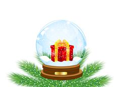glass festive ball with a gift inwardly - stock illustration