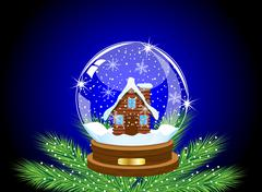 Glass festive ball with a house inwardly Stock Illustration