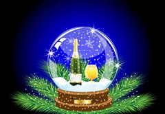 Festive ball with a bottle and glass of champagne inwardly Stock Illustration